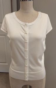 WHBM White button up sweater